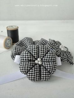 ABily Secretly: Black and white gingham brooch