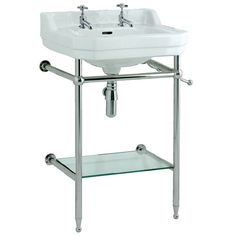 Edwardian 560 basin with stand - 2 tap holes - Bathstore.com