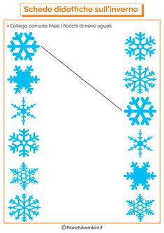 Schede Didattiche sull'Inverno per la Scuola dell'Infanzia | PianetaBambini.it Winter Crafts For Kids, Winter Kids, Winter Art, Winter Theme, Preschool Worksheets, Kindergarten Activities, Educational Activities, Preschool Activities, Snowflake Bentley