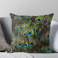 'Peacock Feathers Invasion' Throw Pillow by BonniePhantasm Peacock Dining Room, Peacock Bedroom, Peacock Pillow, Throw Pillows Bed, Bed Throws, Designer Throw Pillows, Decorative Throw Pillows, Peacock Feathers, Fabric Painting