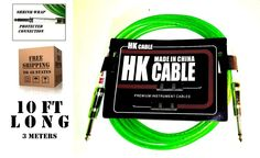 TX sells HK 10 ft  3meter LIME GREEN Electric Guitar amplifier patch cord cable  #HK