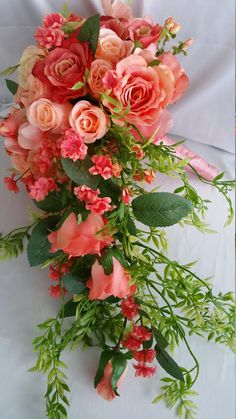 Items similar to Bridal Cascade Bouquet Free Boutonniere Coral Peach Discount Package Available, Pick Colors Flower Ribbon, Roses Realistic Handmade Original on Etsy Bouquet En Cascade, Bridal Bouquet Coral, Bride Bouquets, Bridal Flowers, Flower Bouquet Wedding, Floral Wedding, Coral Wedding Flowers, Coral Wedding Decorations, Stage Decorations
