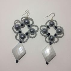 Tatting earrrings,Tatted jewelry, Silver lightweight earrings,Sparkling earrings,Beaded jewelry,Chandelier earrings,Ready to ship,V-Day gift by MMdesignByMhandmade on Etsy