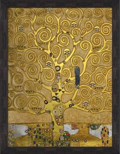 Klimt - Tree of Life (Luxury Line) Wall Art, 30x40, Grazed Ebony - Distressed Bl - modern - Artwork - overstockArt