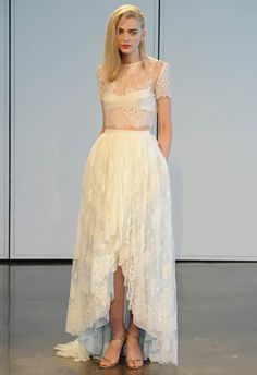 Houghton Spring/Summer 2015 wedding gown. Can you get more modern than a sheer crop top?