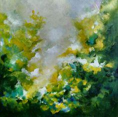 30×30cm Acrylic abstract florals on canvas. Original art by Nurten Koçboğan