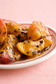 Grilled Peach Halves with a Peach Pecan Dressing