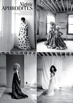Lovely NY Times spread Nightie Aphrodites featuring Solange Knowles, Corinne Bailey Rae, Les Nubians and Juno Temple. Photos by Alice OMalley. Styled by Susan Winget. (via Tiffany)