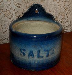 Blue Stoneware Salt Crock by Luv2Junk on Etsy, $27.75