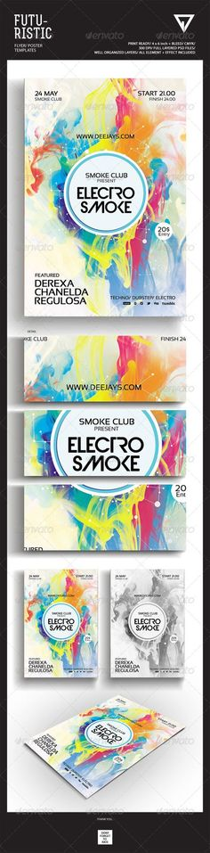 "Futuristic Flyer/Poster #GraphicRiver Featured Flyers Flyer Artwork ""Electro Smoke"" This flyer was designed to promote an Electro / Dubstep / Dance / Drum and Bass / Techno / House music event, such as a gig, concert, festival, dj set, party or weekly event in a music club and other kind of special evenings. This flyer can also be used for a new album promotion or other advertising purposes. Detail : 1 Psd files 4×6 with 0.25 inch bleed area 300 dpi/CMYK Organized layers Print ready Font…"