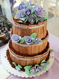 3 Tiered Whiskey Barrel Wedding Cake