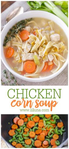 Homey chicken corn soup is savory & delicious. It is hearty, filling and only takes 10 minutes of prep time!! #chickencornsoup #chickensoup #chickennoodlesoup #soup