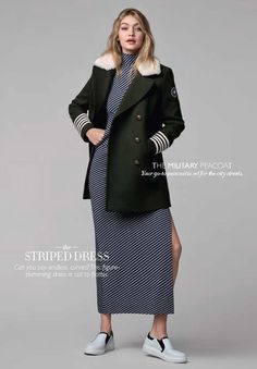 bea2b19901 Gigi Hadid Looks Incredible in Her Own Tommy Hilfiger Collection Gigi wears  a classic wool trench over a dress.