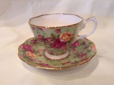 ROYAL ALBERT OLD COUNTRY ROSES GREEN CHINTZ TEA CUP AND SAUCER