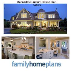 The gambrel roof over the front facing gable draws attention from every passer-by, and the tower room creates a balanced street view. With all the lights on at night, house plan 74833 is a beacon of luxury and comfort. Read more from our latest blog: http://blog.familyhomeplans.com/2013/12/barn-style-luxury-house-plan/