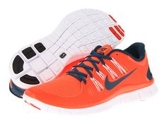 Nike Free 5.0+ Total Crimson/White/Midnight Turquoise - Zappos.com Orange Shoes, Nike Free Runs, Air Jordans, Sneakers Nike, Footwear, Turquoise, Lady, My Style, Heavenly