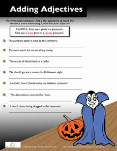 Halloween Verb Adjective Noun Picture Worksheet / Activity