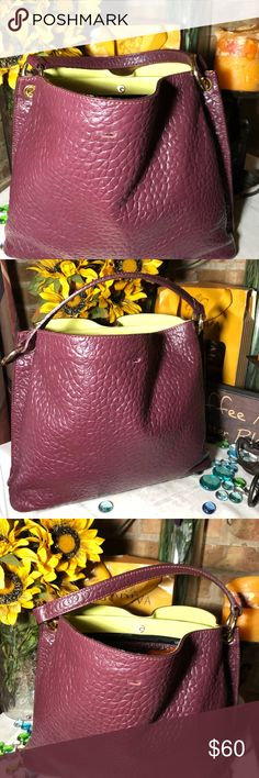 Italian Leather Bag Sz 10x13- 7' strap- hobo style- good condition- no damage-  super soft pebbled genuine leather- violet purple- very clean interior- Gorgeous bag. My Choice Bags Hobos