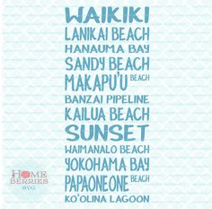 Oahu Hawaii Beaches Subway Art Vacation Fun in the Sun Sand Surf Sea svg dxf eps jpg ai files for Cricut Silhouette & other cutting machines by HomeberriesSVG on Etsy