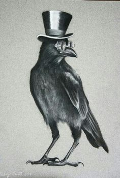 Raven Halloween top hat - New Site Crows Drawing, Bird Drawings, Funny Bird, Rabe Tattoo, Arte Grunge, Black Bird Tattoo, Black Crow Tattoos, Crow Bird, Raven Art