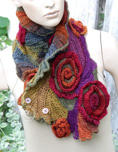 Unique Crochet scarf Freeform Crochet Scarf, Roses, Capelet, Neck Warmer Red, brown, Orange Green,Chunky Knit, Freeform Crochet, one of a kind Color: shadows red, green, purple, orange, brown Size: One size fits all Irregural shape lenght about 35,83/7,87-11,02 (91cm/20-28cm) materials used: 100% acrylic premium Care instruction: hand wash using warm water. Because of different monitors and screen resolutions, colors may look different on the screen than really.