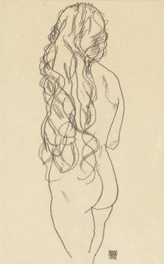 Egon Schiele, Nude Seen from Behind, 1918 on ArtStack #egon-schiele #art