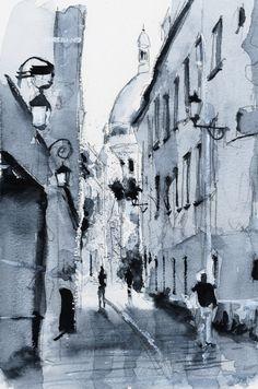 Ruelle – Paris. Watercolor painting / Aquarelle. By Nicolas Jolly.