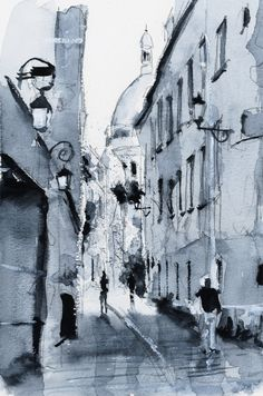 Watercolor / Aquarelle – Ruelle - Paris - Nicolas Jolly