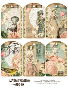 Ephemera's Vintage Garden: Free Printable - 'Loving Sweetness' Hang Tags. For Personal Use Only.