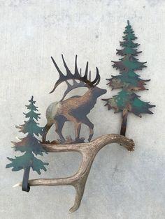 B125) Elk in the Pines, Authentic Antler