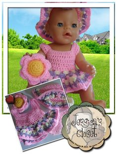 Dress your doll in this Baby Doll Flower Set. Dress, Sun Hat, Play Flower Pot and Flower Cupcakes. Baby Clothes Patterns, Baby Knitting Patterns, Baby Patterns, Doll Patterns, Dress Patterns, Crochet Jacket Pattern, Crochet Doll Pattern, Crochet Patterns, Pattern Sewing