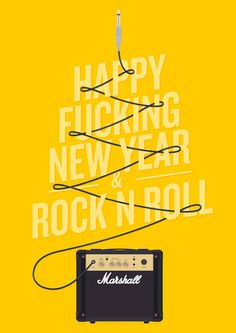Happy F** New Year & Rock n Roll poster in Type Illustration