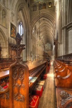 Southwark Cathedral, London, built in the 11th century, Note the different tapestry stools - you find them in a lot of churches in the UK.  Each one is  different and often worked by the women of the parish.