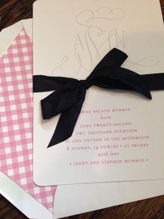 Pink gingham liners for darling letterpress announcements... For birth, baptism or even first communion.