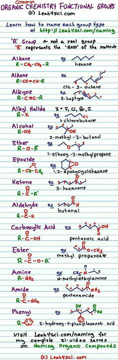 Chemistry 572379433876200304 - Organic Chemistry Functional Groups Cheat Sheet – print this guide for a handy reference to the common groups you will come across during IUPAC naming and advanced reactions: Source by fabient Chemistry Help, Chemistry Notes, Teaching Chemistry, Science Chemistry, Organic Chemistry, Physical Science, Science Education, Chemistry Drawing, Chemistry Tattoo