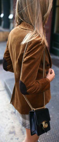 Corduroy blazer, white short sleeve t-shirt, checked front zip mini skirt, leopard print ankle strap pumps {Veronica Beard, J Brand, Maje, fall winter trends, fall fashion, classic style, fashion trends}