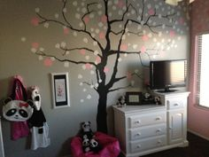 Cherry Blossoms with Panda girls room.