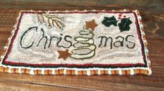 Primitive Christmas Hooked Rug by PinesAndNeedlework on Etsy