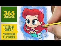 COMO DIBUJAR A ARIEL DE LA SIRENITA: Dibujar princesas disney en español - dibujo kawaii - YouTube