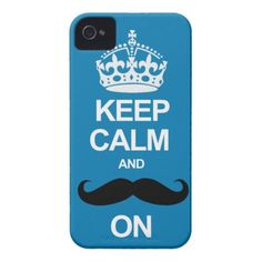 Blue Keep Calm and Carry On Mustache iPhone Case iPhone 4 Case