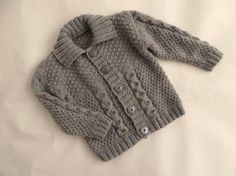 Hand knitted fawn baby cardigan - wool / acrylic blend, so soft! - handknit sweater for boy 6 to 12 months
