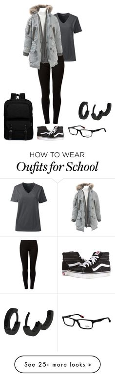 """Casual Jayy"" by maneatingwhale on Polyvore featuring Lands' End, Dorothy Perkins, AllSaints, Vans and Ray-Ban"