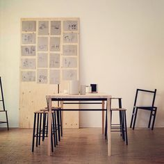 Archive image: Frama Atelier Exhibition at Dansk Made For Rooms in Copenhagen/Vesterbro. Photo Credit: Jesper Lindström. T1 table by A/L/O, Adam stool by Toke Lauridsen, 9,5* chair by B.Fex, AjOtto stoneware by Frama #interior #inredning #decoration #exhibition
