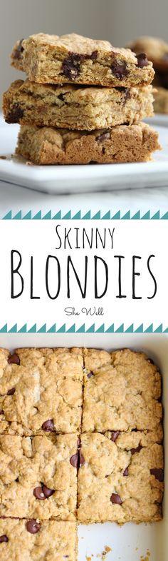 Lightened Up Blondies — She Well Low Sugar Desserts, Healthy Dessert Recipes, Healthy Baking, Easy Desserts, Delicious Desserts, Yummy Food, Healthy Sweet Treats, Vegan Treats, Vegan Snacks
