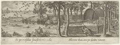 Hans Bol | Eendenjacht met net, Hans Bol, Theodoor Galle, 1582 | Eendenjacht waarbij honden de eenden in een grote fuik drijven. De prent heeft een Latijns onderschrift en maakt deel uit van een serie van 54 prenten.