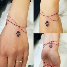 de allerleukste armband tattoos - One Hand in my Pocket Wrist Tattoos For Guys, Small Wrist Tattoos, Tattoos For Women Small, Finger Tattoos, Cute Tattoos, Beautiful Tattoos, Body Art Tattoos, Tattoo Femeninos, Chain Tattoo