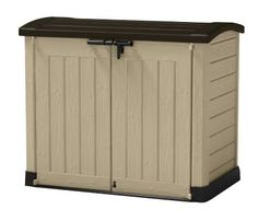 Keter Store It Out Max Plastic Outdoor Garden Storage Shed – Beige and Brown Plastic Storage Sheds, Garbage Can Storage, Storage Bins, Tool Storage, Home Depot, Outdoor Storage Boxes, Patio Storage, Shed Sizes, Utility Cabinets