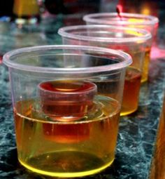 Vegas Bomb shot #vegas #bomb #shot #recipes #cocktails #malibu #peach #schnapps #rum #redbull #cranberry #juice