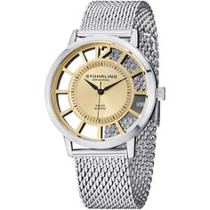 Stuhrling Original Women's Winchester Del Sol Elite Watch, 40mm ($65) ❤ liked on Polyvore featuring jewelry, watches, no color, quartz movement watches, stuhrling watches, water resistant watches, polish jewelry and bezel jewelry