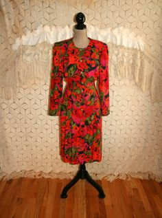 80s Long Sleeve Dress Red Floral Print Button Up Rayon Midi